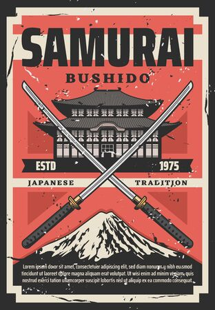 Samurai Bushido Japanese tradition, pagoda and crossed katanas. Vector Fuji mountain, katana sword symbols of fight, temple building. Principles of samurai way of life, warriors, Japan culture Ilustração