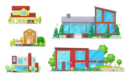 Cottages and real estate house isolated buildings. Vector homes, facades exterior design with trees. Garage with car, stairs and street lamps. Windows and entrance door, modern architecture