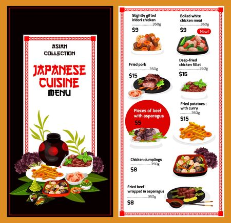 Japanese cuisine vector menu. Traditional asian food, slightly gifted iridori chicken, boiled white meat, fried pork and fillet, beef and asparagus. Potatoes with curry, dumplings ginger and wasabi