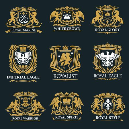 Heraldry golden royal signs and coat of arms. Vector marine symbol with crossed anchors, crown and glory, imperial eagle and royalist. Warriors spirit, gryphon and griffin, pegasus and falcon Banque d'images - 132118272