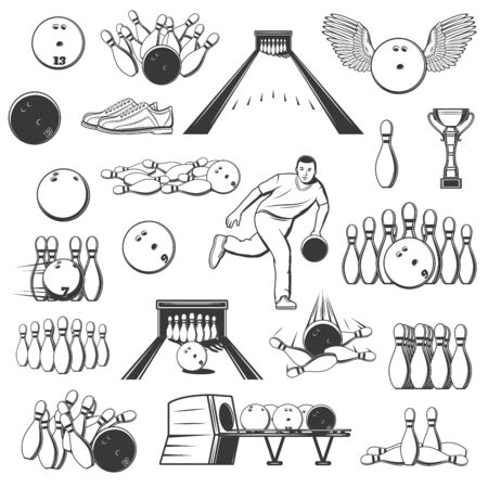Bowling sport isolated item icons. Vector ninepins, trophy cups and alleys, ten-pins and winged ball with lanes, bowler and shoes, bowling pins shelves, strike and skittles, equipment 向量圖像
