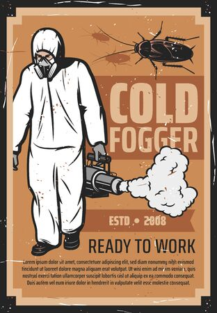 Insektenbekämpfung, Kammerjäger in Uniform mit Schädlings- und Mücken-Kaltnebelgerät. Mann im Chemikalienschutzanzug, Deratisierung und Desinsektion. Kakerlakensilhouette, Kampf mit Käfern, Desinfektion