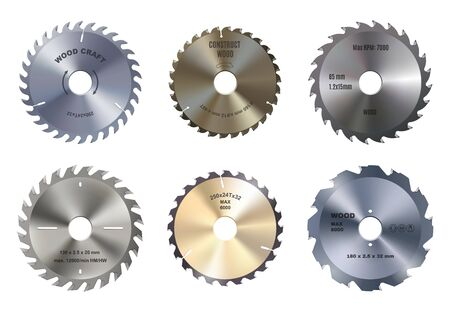 Mechanical circular saw vector blades, wood craft and construction. Round metal blade, carpentry tool. Variety of discs consisting of teeth