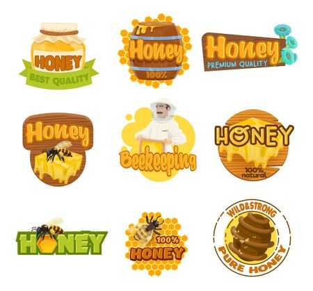 Honey and beekeeping farm isolated icons. Vector apiarist and jar with sweet food, honeycomb with drop, bee and beehive. Beekeeper in protective suit, apiculture emblems and wooden barrel, packagings Stock Illustratie