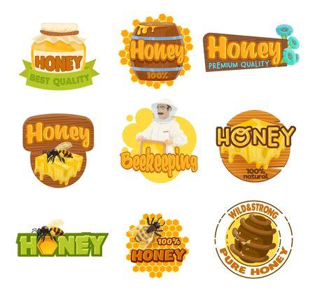 Iconos aislados de la granja de miel y apicultura. Apicultor de vector y tarro con alimentos dulces, panal con gota, abeja y colmena. Apicultor en traje de protección, emblemas de apicultura y barril de madera, embalajes