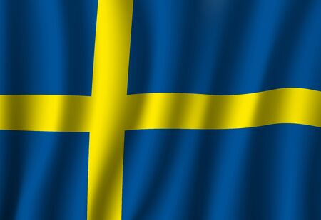 Flag of Sweden, Swedish national banner with yellow Nordic Cross on blue as symbol of Christianity 3d vector design. Travel and geography of Europe, Scandinavian country history and patriotism themes Illusztráció