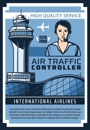 Air traffic control service vector poster of flight controller with headset, control tower, airport building and plane or airplane of international airlines. Aircraft staff, aviation safety design