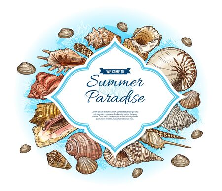 Summer paradise vector card with seashell and marine coral sketches. Tropical ocean beach sea shells, mollusk and conches, snails, clams and scallops frame. Travel, vacation and exotic resort themes