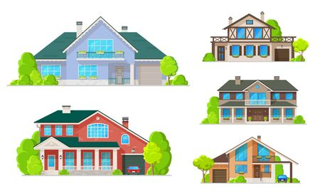 House building icons of village homes and cottages, villas and mansions vector design. Real estate and architecture, exterior of double storey houses with windows, facades and doors, roofs and garages