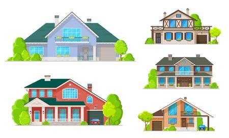 Icônes de construction de maisons de maisons de village et de cottages, de villas et de manoirs de conception vectorielle. Immobilier et architecture, extérieur de maisons à deux étages avec fenêtres, façades et portes, toits et garages