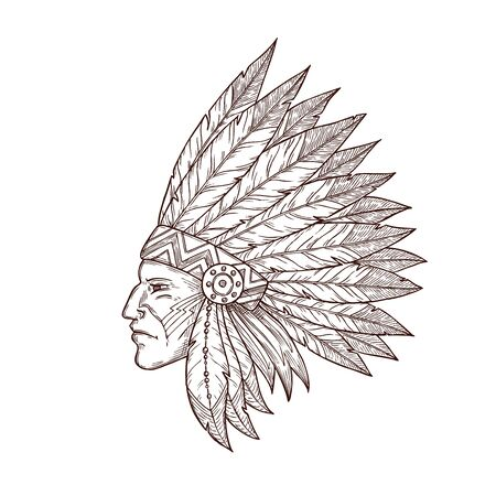 Indian chief in indigenous headdress of eagle feathers sketch isolated icon. Vector Western and native American Indigenous tribes culture symbol of Indian chief warrior, monochrome engraving