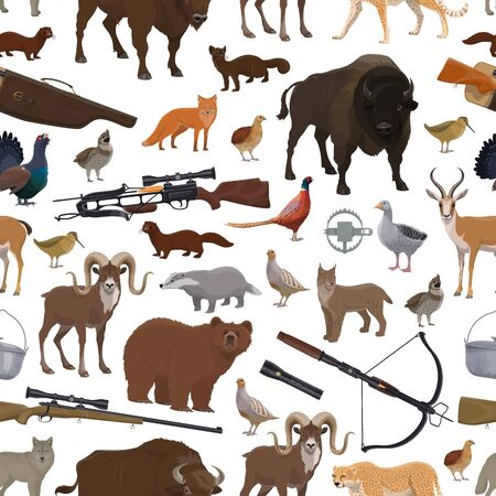 Hunting animals, birds, hunter guns and sport equipment seamless pattern. Vector background of bear, african jaguar and antelope, rifle, fox and shotgun, trap, bison and wolf, quail, pheasant and lynx