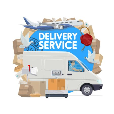 Mail delivery service vector design. Postal service delivery truck with postman, parcels and letters, packages, envelopes and postage stamps, mailbox, post office scales, doves and plane