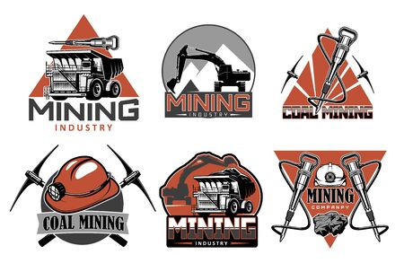 Coal mining industry icons with vector mining underground equipment, tools and machines. Pick axe, helmet and truck, drill, excavator and jackhammer symbols. Mining company emblems and badges design Illustration