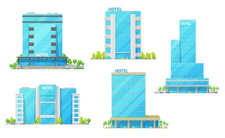Hotel building vector icons of city house modern exteriors. Town skyscrapers, motels and rent appartments with glass and steel facades, luxury entrances, windows and balcony. Hospitality industry Illusztráció