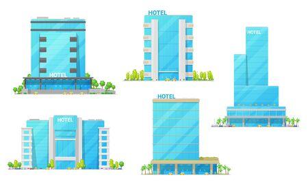 Hotelgebäude-Vektorikonen des modernen Äußeren des Stadthauses. Stadthochhäuser, Motels und Mietwohnungen mit Glas- und Stahlfassaden, luxuriösen Eingängen, Fenstern und Balkon. Gastgewerbe Vektorgrafik