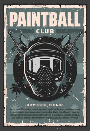 Paintball player guns and mask vector design of competitive team shooting sport. Paintball markers and protective helmet or goggles grunge poster with splatters of paint balls. Sporting club promotion