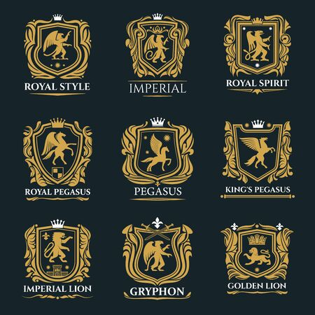 Royal badges and emblems of vector golden shields with heraldic lions, crowns and eagle, king or knight swords, pegasus and griffins, castle towers and fleur-de-lis. Coat of arms, heraldry themes Illustration