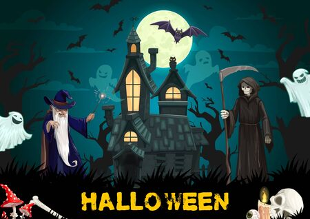 Halloween haunted house with horror ghosts, bats, black cat and full moon. Vector death with scythe, cape and skeleton skull, evil wizard with magic wand, candles and creepy tree, greeting card design
