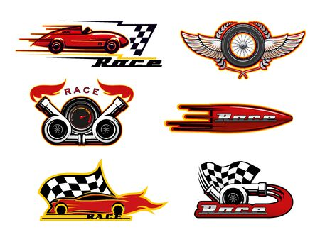 Auto or car racing vector icons of motor sport design. Race automobiles, speedometer and racing flag, vehicle engine, tire and wheels badges, decorated with fire flames, wings and laurel wreath