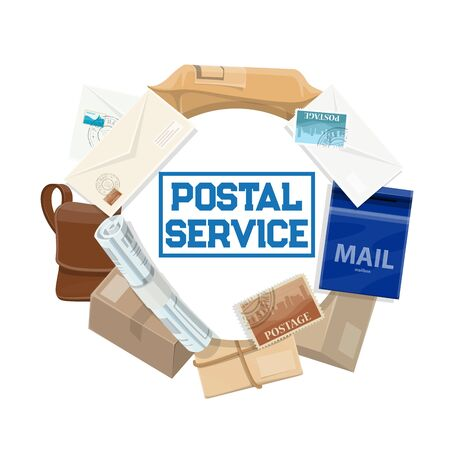 Postal service vector icon of mail delivery design. Parcels, letters and post office packages, envelopes, stamps and postman bag, mailbox, newspaper and postage seal frame. Correspondence themes