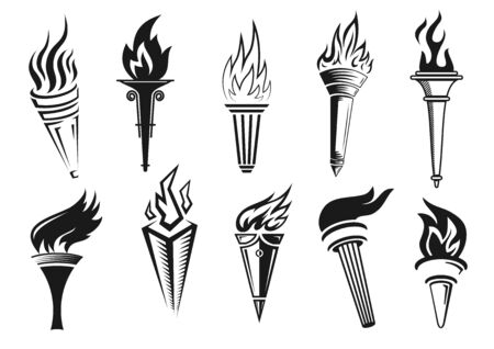 Torch flame vector symbols of victory, liberty, freedom and triumph. Burning torches with bright fire, medieval and modern handles, sport competition achievement, leadership and success design