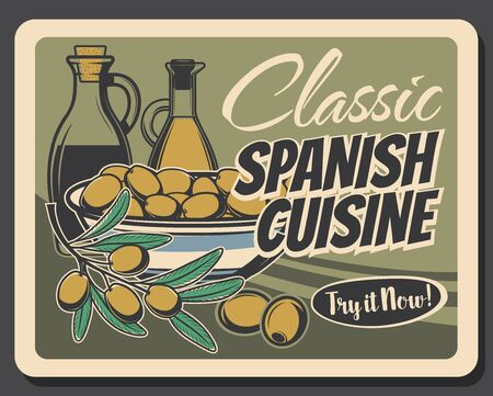Olive oil bottles with marinated fruits in bowl and green branch of olive tree vector design. Spanish cuisine cooking ingredients, food seasonings and dressing retro poster