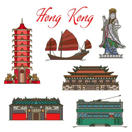 Travel landmarks of Hong Kong thin line icons with vector tourist sight. Sea Goddess of Tin Hau Temple, Junk Boat with red sails, Ten Thousand Buddhas Monastery, Po Lin main temple, double-decker tram Ilustração