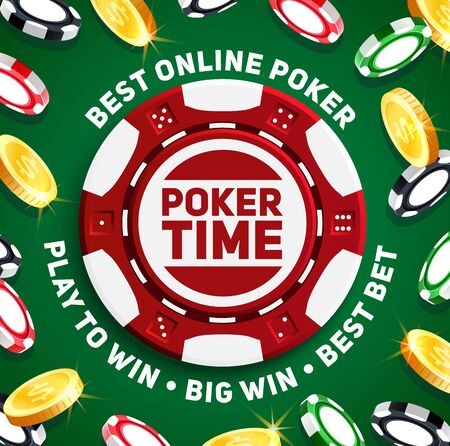 Poker chips of casino gambling games vector design. Plastic chips with dice dots pattern and golden coins 3d poster, online casino games, sports betting or gaming industry themes
