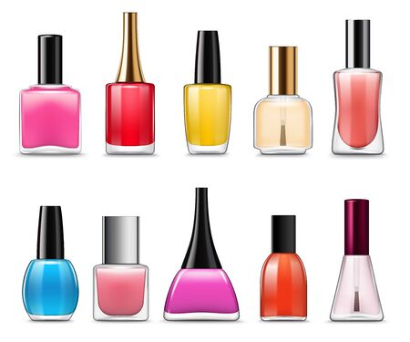 Nail polish bottles with colorful nail varnish and enamel 3d vector template. Lacquer glass containers of manicure and pedicure cosmetics, protection and decoration of fingernails and toenails theme