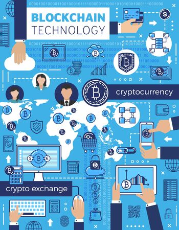 Bitcoin, cryptocurrency and blockchain technology vector design. Crypto currency mining, digital money wallet, network payment and security exchange transaction with computer, mobile phone and tablet