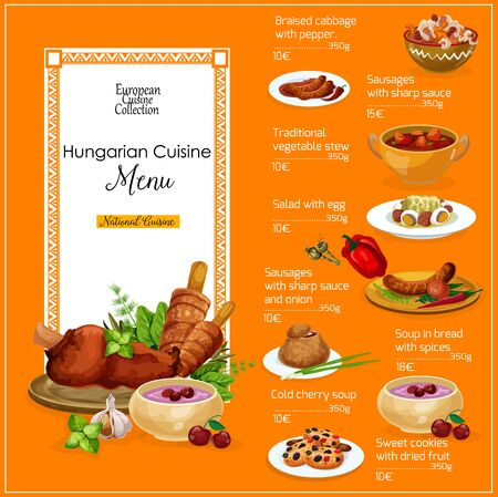 Hungarian restaurant menu with meat and vegetable dishes of European cuisine. Vector tomato pepper stew, beef soup goulash in bread and grilled sausages, braised cabbage, cherry soup and nut cookies