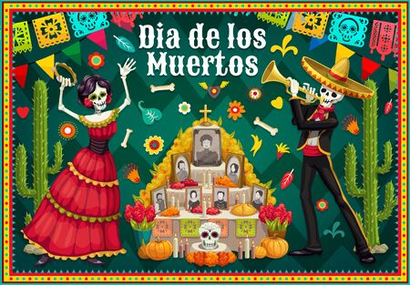 Dia de los Muertos altar and dancing skeletons vector design of Mexican Day of the Dead. Catrina and mariachi musician with sugar skull, marigold flowers and sombrero, paper flags, cactuses and cross