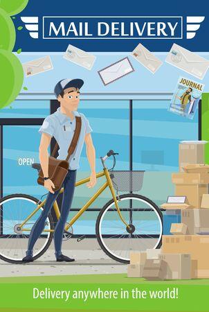 Postamt und Postbote mit Briefen und Paketen Vektordesign der Postzustellung und des Postdienstes. Kurier mit Tasche und Fahrrad, Paketen, Umschlägen und Schachteln, Briefmarken, Siegeln und Zeitschriften