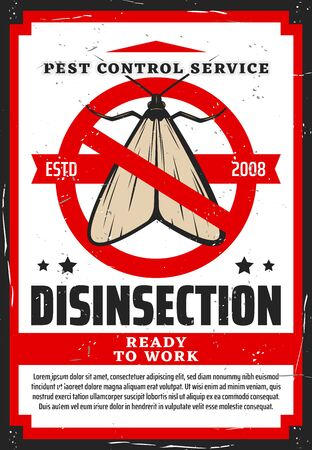 Moth in red warning sign vector design of pest control and house disinfection service. Insect of clothing moth with stop or prohibition symbol retro poster