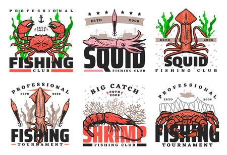Fishing sport club vector icons with seafood. Crabs, shrimp and squid sea animal sketches with fishing boat, net and ship, fisherman tackle, hook and baits. Fisherman tournament design