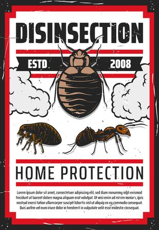 Pest control vector design of insect extermination. Mite or tick, flea and ant with pesticide and insecticide chemical poison clouds. Disinfection service, home protection themes