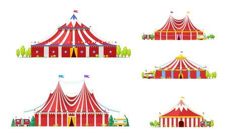 Carpa de circo o carnaval iconos vectoriales de carpa con franjas rojas y blancas, entradas abiertas y banderas festivas, globos, banderines y estrellas. Parque de atracciones, parque de atracciones y diseño de entretenimiento. Ilustración de vector