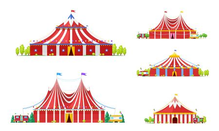 Circus tent or carnival marquee vector icons with red and white strips, open entrances and festive flags, balloons, bunting and stars. Amusement park, funfair performance and entertainment design