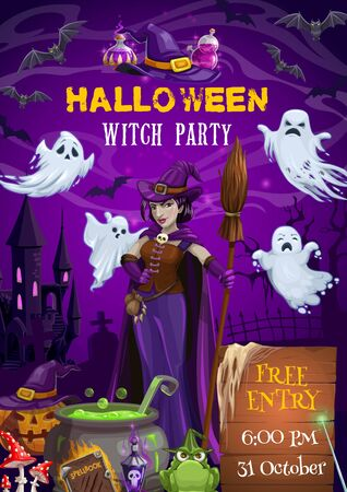 Witch party vector invitation of Halloween trick or treat. Horror ghosts, bats and spooky pumpkin, evil witch with hat, broom and potion cauldron, haunted house, spellbook, graveyard and tombstones Ilustracja