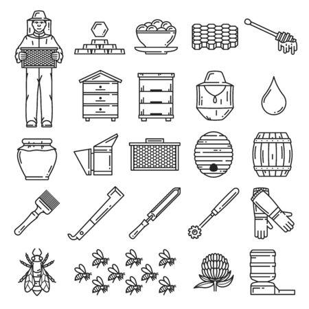 Iconos de apicultura delgada línea. Vector de abeja de miel, apicultor, marco de colmena, panales, colmenas de colmenar y tarro de miel, flor, gota de néctar y barril, enjambre, sombrero de apicultor y cera de abejas, propóleo, herramientas de colmena