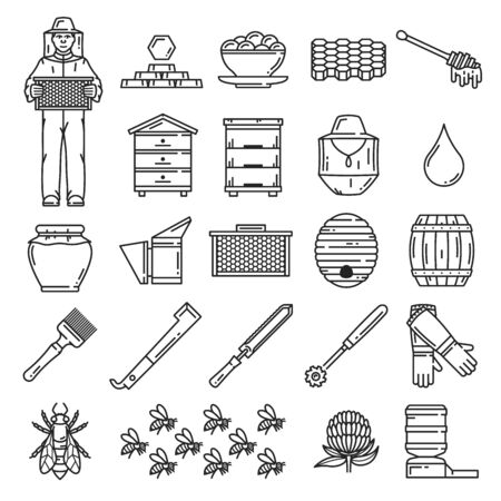 Beekeeping thin line icons. Vector honey bee, beekeeper, beehive frame, honeycombs, apiary hives and honey jar, flower, nectar drop and barrel, swarm, apiarist hat and beeswax, propolis, hive tools