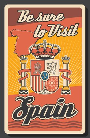 Travel to Spain poster with map and coat of arms in colors of Spanish flag. Vector heraldic lion, castle, crown of Aragon and cross with chains on shield with fleur-de-lis, Spanish crown, columns Illustration