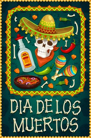 Dia de los Muertos sugar skull with sombrero and tequila. Day of the Dead religious festival vector design with skeleton, bones and marigold flowers, maracas, jalapeno and chilli in ethnic frame Иллюстрация