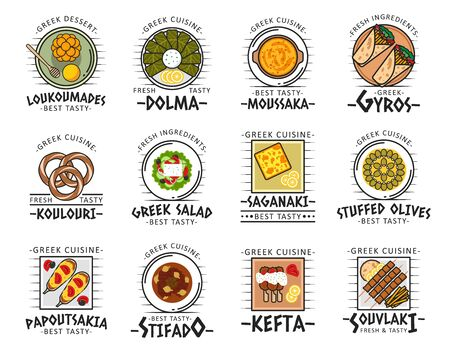 Greek cuisine dish icons with vector meat, vegetable and dessert food. Greek salad, souvlaki and pita gyros, moussaka, stuffed olives and dolma, beef stifado, kefta kebab and saganaki feta cheese Zdjęcie Seryjne - 132118278