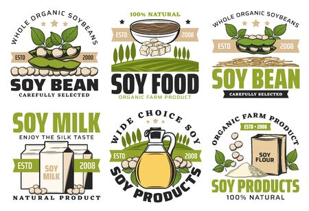 Soybean food vector badges of soy beans, feta and milk packs, oil bottle, bowl of miso pasta and sauce, flour and noodles. Soya plant product emblems design with green leaves and pods, healthy food