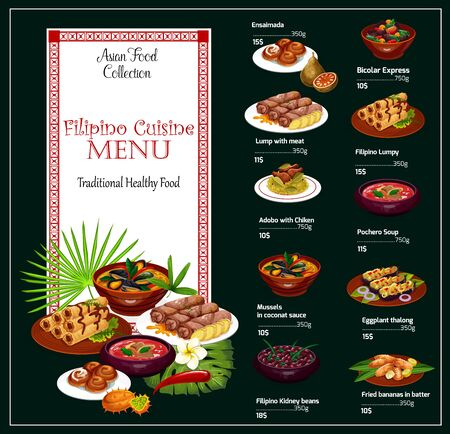 Filipino cuisine restaurant menu template of Asian food vector design. Chicken rice adobo, meat rolls and mussels in coconut sauce, beef soup, pork bean stew and eggplant talong, fried banana, buns Illustration