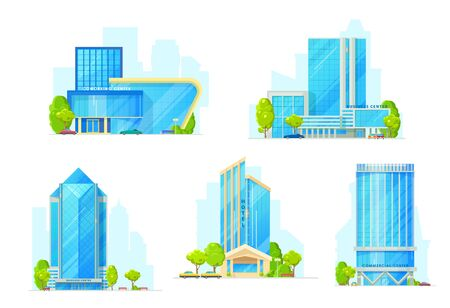 Hotel, business center and office building vector icons. Modern city houses, urban town homes, downtown skyscrapers with tall towers, glass facades and entrances. Commercial real estate design