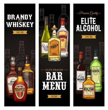 Drinks menu vector design of bar or restaurant. Bottles of alcohol beverages, wine, vodka and whiskey, gin, cognac and tequila, brandy, martini and liquor, absinthe, bourbon and scotch sketches