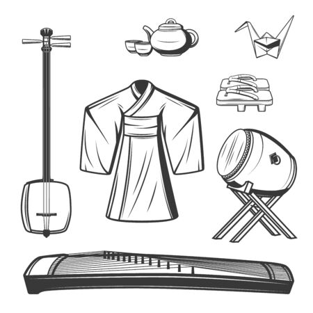 Japanese culture symbols vector design, Asian travel theme. Sketches of origami, kimono and tea ceremony set with teapot and cups, wooden shoes geta and musical instruments, shamisen, taiko drum, koto Illusztráció
